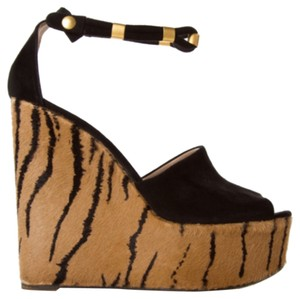 Chloé Chloe Suede Pony Hair Platform Animal Print Black Gold Hardware Snap Closure Ankle Strap Wedges