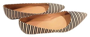 J.Crew Leather Pointy Canvas Ballerina Linear Black and White Flats