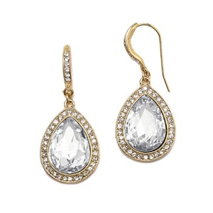 Clear Crystal Tear Earrings Drop With Gold Pave Accents