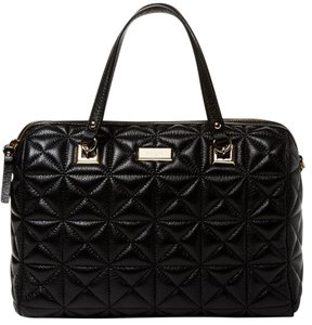 Kate Spade New York Sedgewick Place Shimmer Leather Kensey Quilted Satchel in Black