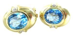 14KT SOLID YELLOW GOLD EARRINGS BLUE TOPAZ