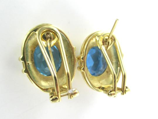 Other 14KT SOLID YELLOW GOLD EARRINGS BLUE TOPAZ