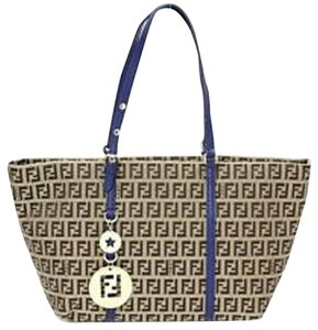 Fendi Zucchino Double F Tote in Brown, Navy