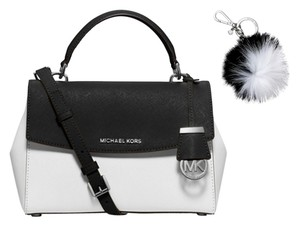 Michael Kors Fur Black Satchel in Black, White