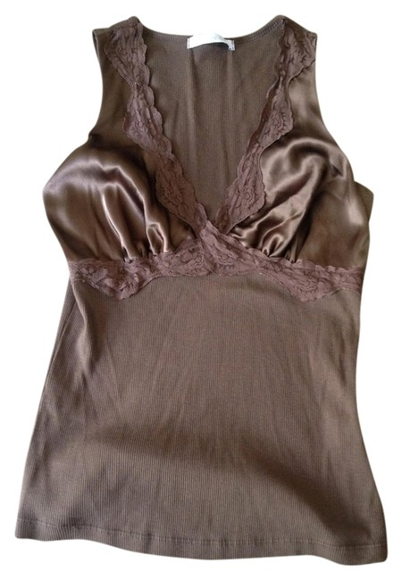 Charlotte Russe V-neck Lace Night Out Casual Satin Summer Night Pretty Cute Top brown
