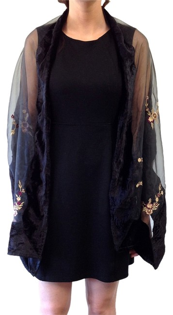 Item - Multicolor Black Semi-sheer with Flower Embroidered Flowers Shawl Scarf/Wrap