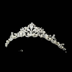 Elegance by Carbonneau Silver/White Pearl and Rhinestone Tiara