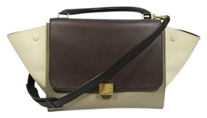 Céline Satchel in Gray, Burgundy, Off-White