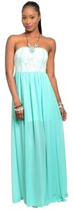 white teal aqua mint Maxi Dress by Independent Clothing Co. Strapless Chiffon Boutique Lace Color Block