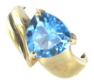 Other 10K KARAT YELLOW GOLD RING BLUE TOPAZ WEDDING BAND 2.9 GRAMS COCKTAIL SZ 7