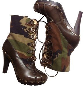 Michael Kors Army Mk Camouflage Military Black Boots