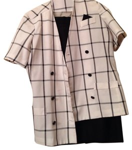 Black and White Plaid Skirt Suit