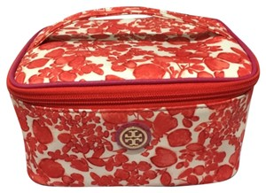 Tory Burch Tory Burch Printed Train Case Nylon Issy Rec Orange Floral New With Tag Cosmetic Case Box