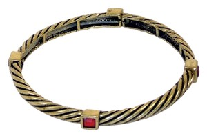 Bangle-Style Bracelet - Wire Look with Faux Red Gemstone Accents, Expandable Sizing.