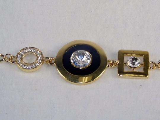 Other Fashion Jewelry Bracelet-Gold Tone Chain,with Gemstone Studded Charms.