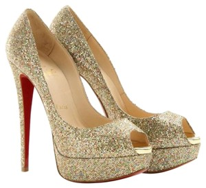 Christian Louboutin Multicolor Glitter Leather Embellished Textured Lady Peep Lady Peep 150 Stiletto Peep Toe Platform Hidden Platform 39 Gold Pumps