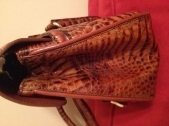 Brahmin Leather Croc Embossed Satchel With Shoulder Bag