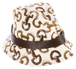 Gucci Brown, ivory monogram Gucci bamboo horsebit bucket hat Small S New