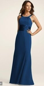 David's Bridal Blue / Marine Chiffon Unknown Formal Bridesmaid/Mob Dress Size 12 (L)