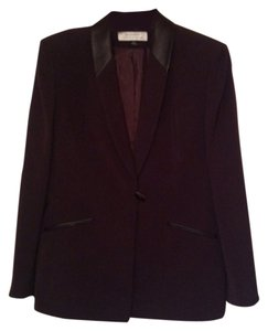 Tahari Faux Leather Accents Brown Blazer