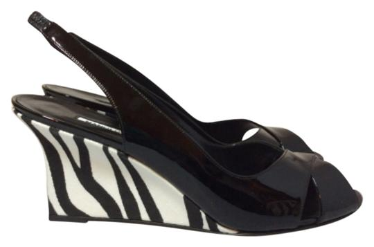 Manolo Blahnik Black/White Wedges