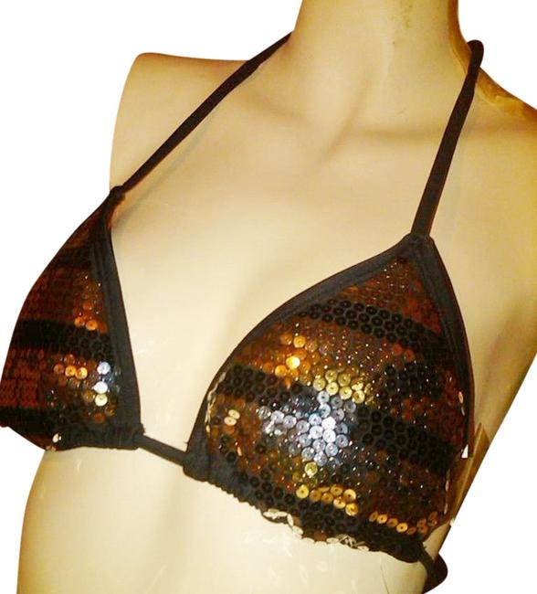 California Waves Adjustable SEXY Silver, Gold and Black Glitter Sequin Bikini Top