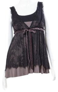Robert Rodriguez Lace Velvet Black Deep V-neck Front Back Gray Overlay Sexy Chic Feminine Classy Side Zipper Top
