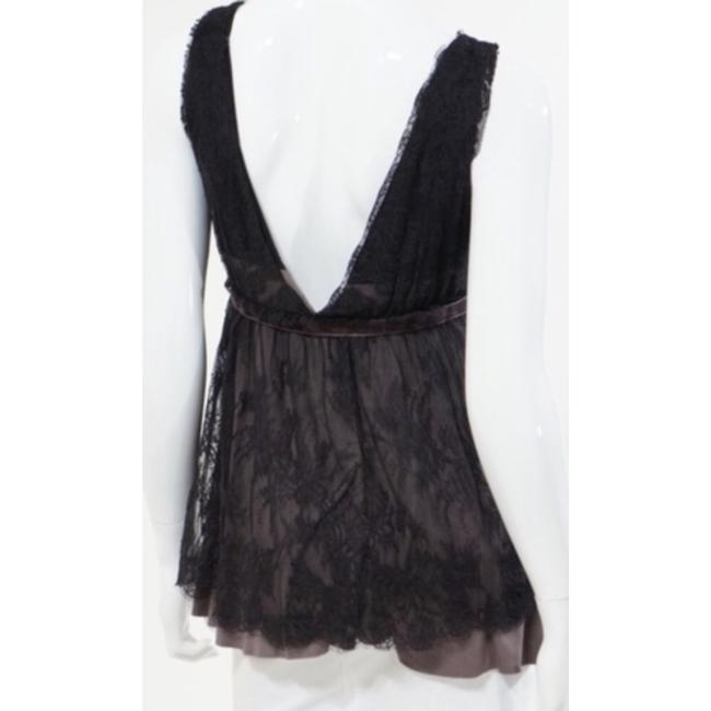 Robert Rodriguez Lace Jersey Camisole Velvet Black Deep V-neck Front Back Gray Overlay Sexy Chic Feminine Classy Side Zipper Top