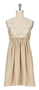 Anthropologie short dress Champagne Wedding Wedding Guest Linen on Tradesy