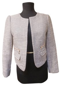 Ann Taylor LOFT Structured Textured Striped White Grey Neutral Blazer