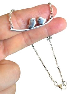 Other New silver love birds on a branch necklace 19