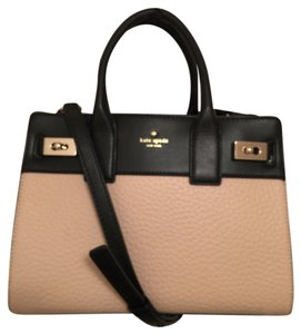 Kate Spade Leather Satchel in Tan Black