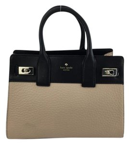 Kate Spade Leather Satchel in Nude/ Black