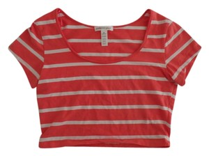 Ambiance Apparel Summer Spring Striped Bold Stripe Crop T Shirt Coral