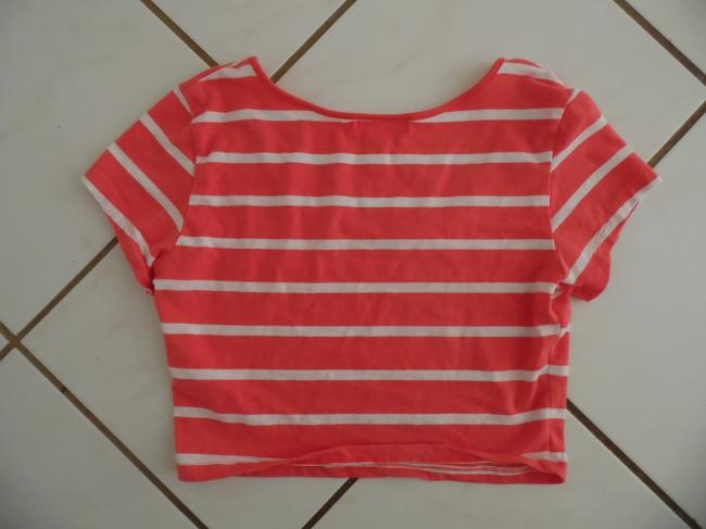 Ambiance Apparel Summer Spring Striped Bold Stripe Casual Crop T Shirt Coral