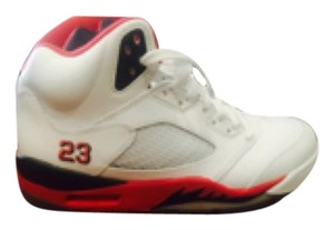 Nike White Fire Red 5's Athletic