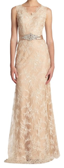 Preload https://item3.tradesy.com/images/la-femme-nude-belted-lace-gown-long-formal-dress-size-10-m-10260352-0-2.jpg?width=400&height=650