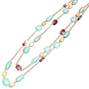Other New. Double Layered Turquoise Beaded Silver Necklace