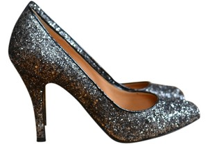 J.Crew Glitter Holiday Silver Metallic Graphite Pumps