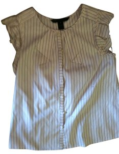 Marc by Marc Jacobs White Pinstripped Button Up Top Whtie