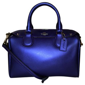 Coach Leather Cross Body New/nwt Satchel in Metallic Purple
