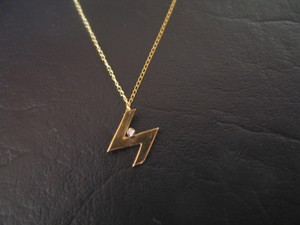 14KGold Lightening Design with Diamond Pendant, 14K Gold 18