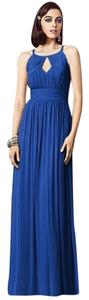 Dessy Full Length Lux Chiffon Halter Neckline Dress