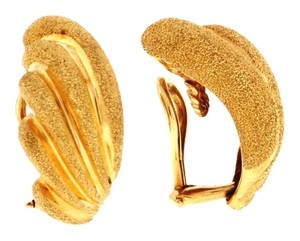 Other Gorgeous - 14k gold Scalloped and textured clip earrings