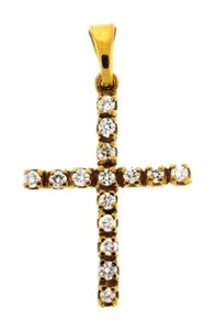 Other STEAL - 18k Gold 1/4 diamond cross pendant
