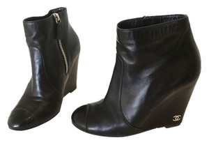 Chanel Leather Bootie Black Boots