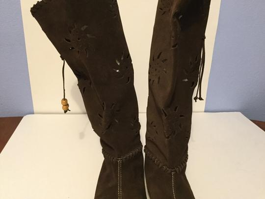 Steve Madden Suede Leather Geometric Brown Boots