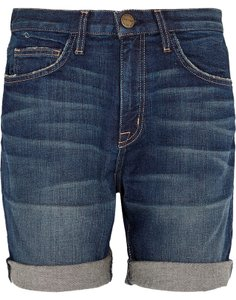 Current/Elliott Blue The West Coast Charmer Denim Cuffed Shorts Dark Denim