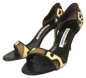 Manolo Blahnik Brown/ Cream Sandals
