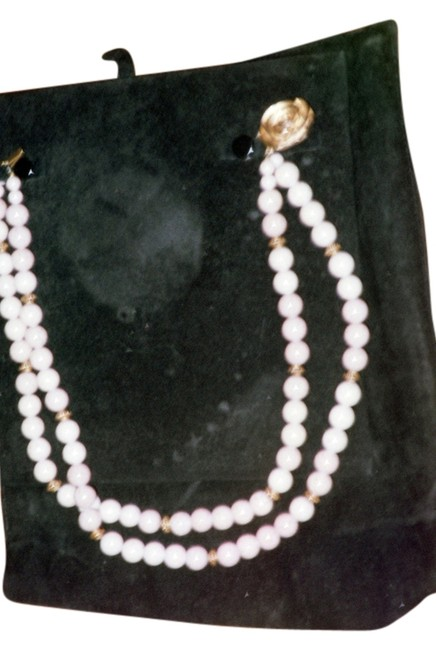 Lord & Taylor Off-white Two Strand Beads with Gold Tone Rose Clasp-vintage Necklace Lord & Taylor Off-white Two Strand Beads with Gold Tone Rose Clasp-vintage Necklace Image 1